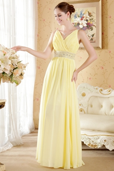 V-Neckline Daffodil Chiffon Junior Bridesmaid Dress