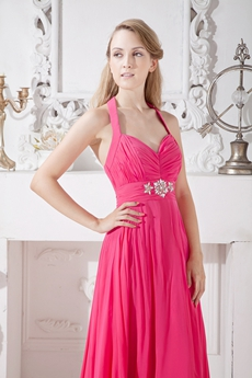 Top Halter A-line Fuchsia Chiffon Engagement Evening Dress