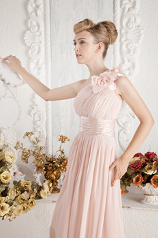 Sweet One Shoulder Pink Bridesmaid Dress With Sash