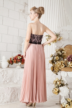 Pretty Full Length Black And Pink Prom Party Dress With Lace