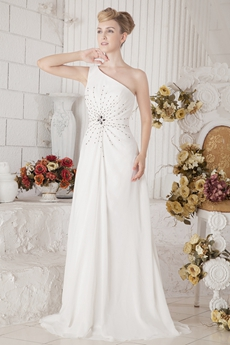 Noble One Shoulder White Chiffon Eveneing Dress With Beads