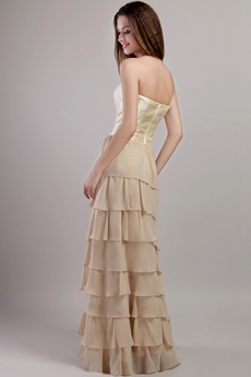 Column Champagne Chiffon Tiered Prom Party Dress