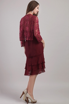 Knee Length Burgundy Mother Of The Groom Dress With Lace