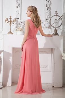 Column Full Length Watermelon Chiffon Bridesmaid Dress