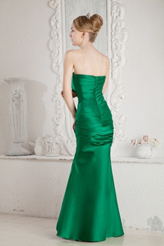 Elegance Hunter Green Satin Mermaid Mother Dress