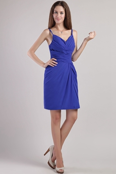 Backless Mini Length Royal Blue Cocktail Dress