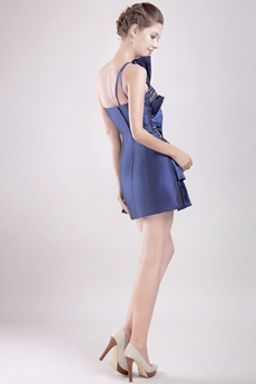 Unique Royal Blue Cocktail Dress With Ruche