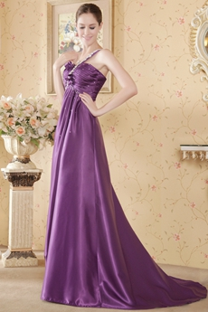 Stunning One Straps Eggplant Pageant Dress With Beads
