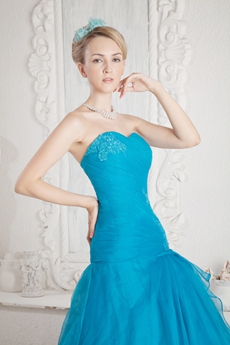 Breathtaking Turquoise Organza Prom Pageant Dress Dropped Waist