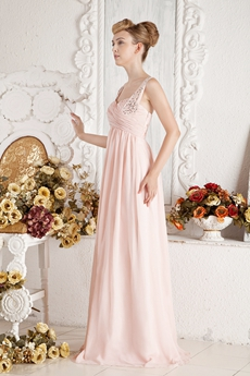 Double Straps Empire Full Length Maternity Prom Dress