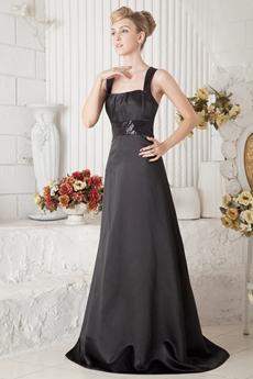 Black Satin College Graduation Dress