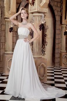 Hawaii Strapless White Chiffon Destination Wedding Dress