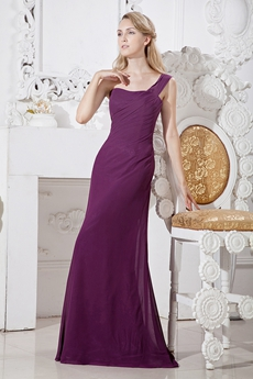 Affordable One Shoulder Grape Colored Chiffon Bridesmaid Dress