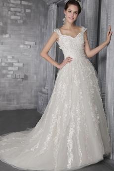 Impressive Double Straps Princess Lace Wedding Dress