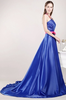 Open Back Halter Royal Blue Satin Prom Party Dress