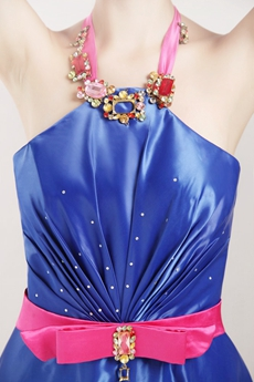 Open Back Halter Royal Blue Satin Prom Party Dress