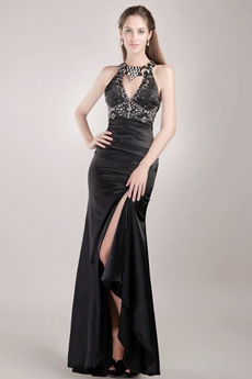 Sexy Backless Black Cocktail Dress With Rhinestones