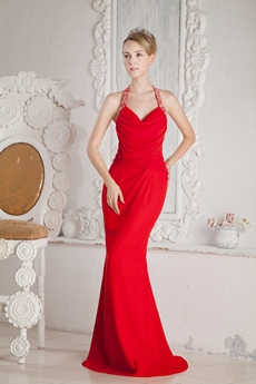 Backless Top Halter Sheath Red Chiffon Evening Dress Backless