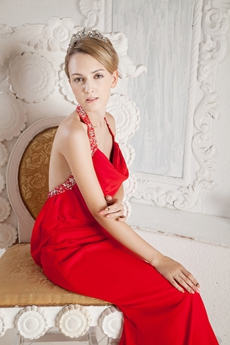 Backless Top Halter Sheath Red Chiffon Evening Dress Backless