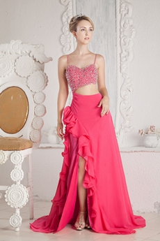 Sexy Spaghetti Straps Fuchsia Cut Out Fuchsia Evening Dress With Beads