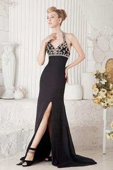 Sexy Halter Sheath Full Length Black Evening Gown