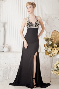 Sexy Halter Sheath Full Length Black Evening Gown