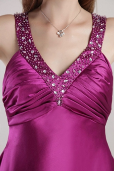 Knee Length V-Neckline Fuchsia Junior Prom Party Dress