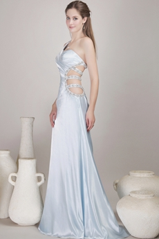 Sexy Light Sky Blue One Shoulder Evening Dress Cut Out Waist