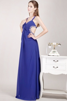 Crossed Straps Back Royal Blue Chiffon High School Graduation Dress