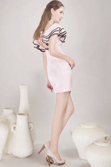 Scoop Neckline Mini Length Pink Cocktail Dress