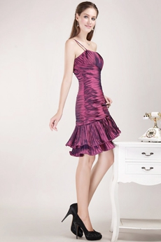 One Straps Grape Satin Mini Length Wedding Guest Dress