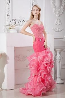 Colorful Mermaid Sweet Sixteen Dress With Ruffles