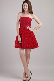 Mini Length Red Floral Sweet XVI Dress