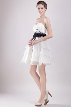Puffy Mini Length White Cocktail Dress With Black Sash