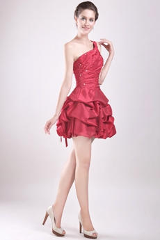 Modern One Shoulder Puffy Mini Length Red Sweet 16 Dress