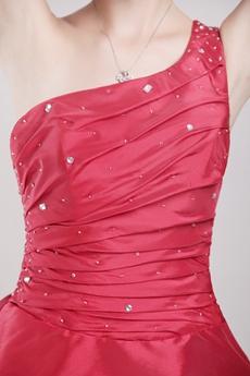 Modern One Shoulder Puffy Mini Length Red Sweet 16 Dress