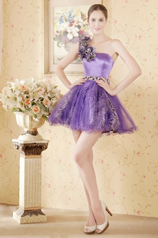 Cute One Straps Tutu Mini Length Lavender Sweet 16 Dress