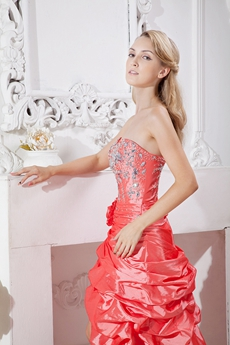 Modern Watermelon Taffeta Sweet 16 Dress With Crystals