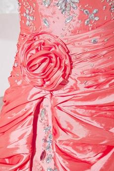 Modern Watermelon Taffeta Sweet 16 Dress With Crystals