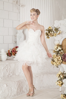 Tutu Mini Length Organza Sweet XVI Dress With Beads
