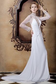 Backless Long Sleeves High Neckline Summer Wedding Dress
