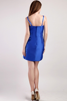 Sheath Mini Length Royal Blue Satin Mother Of The Groom Dress