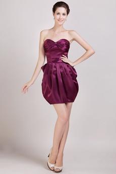 Mini Length Grape Satin Wedding Guest Dress
