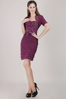 Sheath Mini Length Grape Chiffon Wedding Guest Dress With Jacket