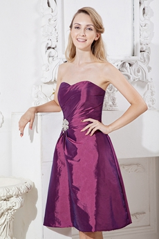 Knee Length Grape Colored Junior Prom Dress