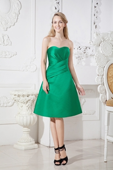 Knee Length Dark Green Satin Wedding Guest Dress