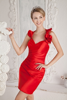 Hot Sheath Mini Length Red Wedding Guest Dress