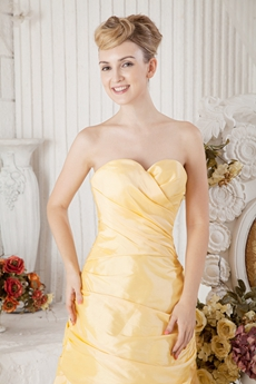 Knee Length Yellow Satin Wedding Guest Dress With Jacket