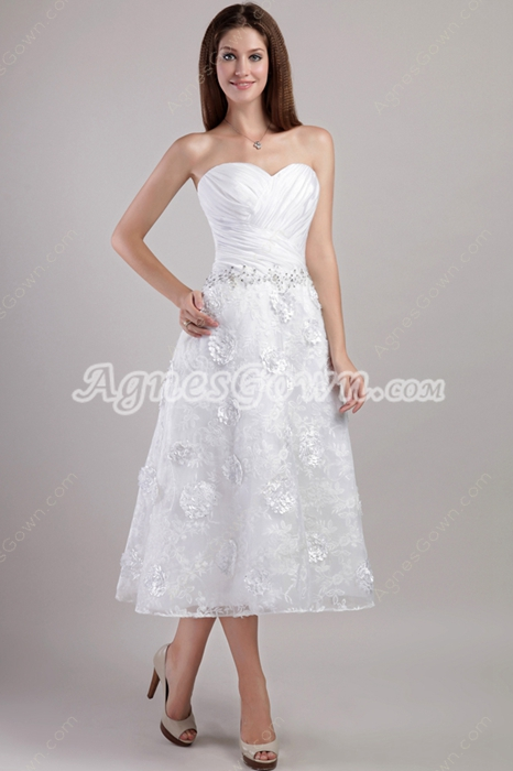 Tea Length Lace Beach Wedding Dress With Handmade Flowers