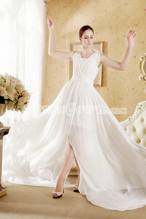A-line White Chiffon Summer Wedding Dress With Pearls
